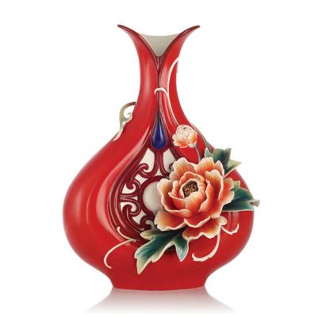 Franz Porcelain Blessings and Wealth-Peony Design Sculptured Porcelain Vase FZ03188