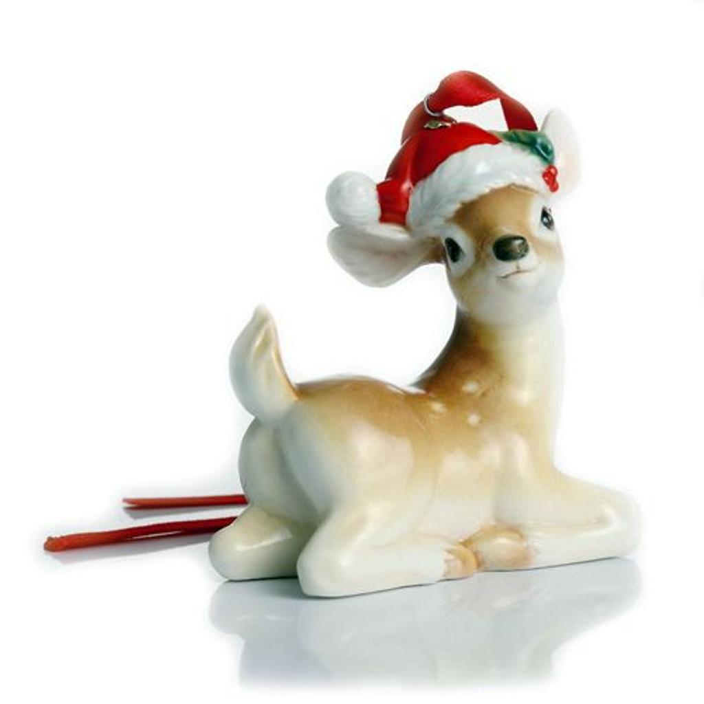 Franz Porcelain Holiday Greetings Deer Ornament FZ02306