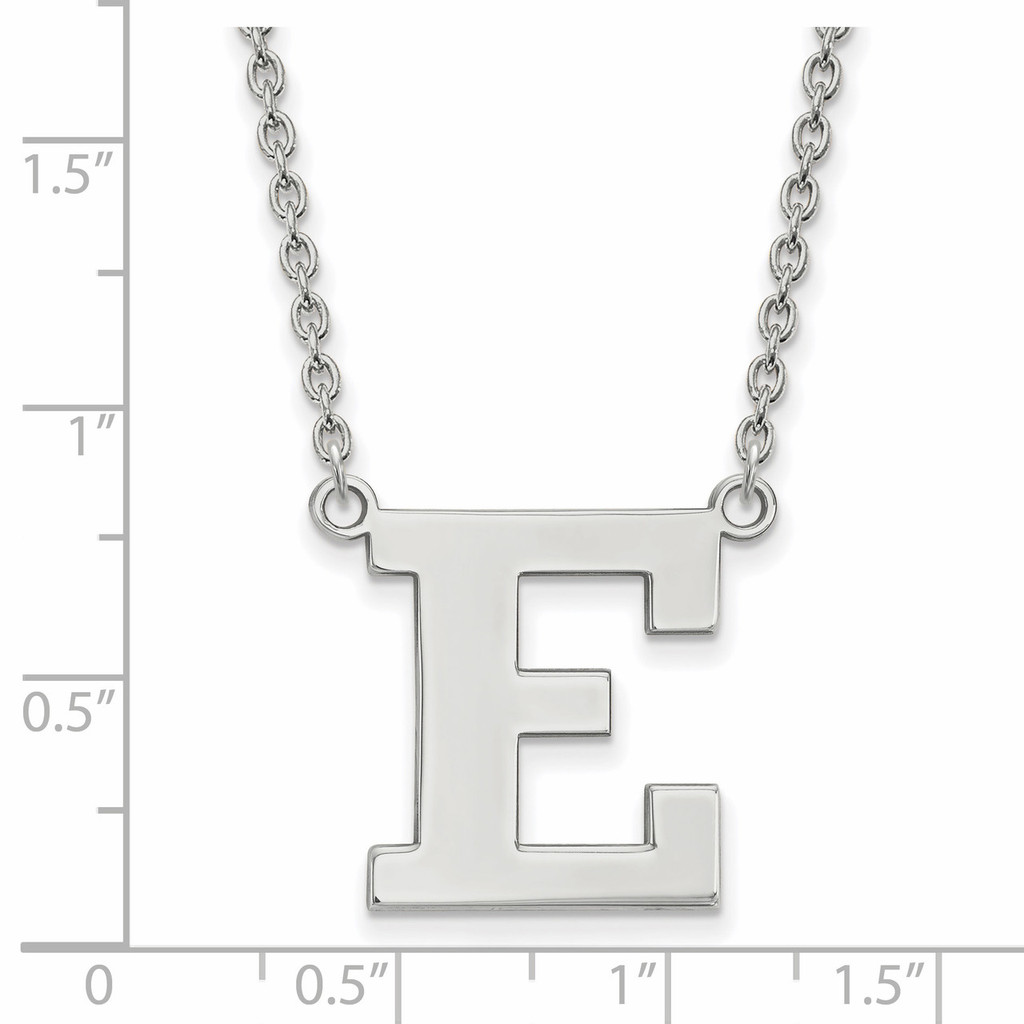 With measurement & size Eastern Michigan University Large Pendant with Necklace Sterling Silver SS008EMU-18