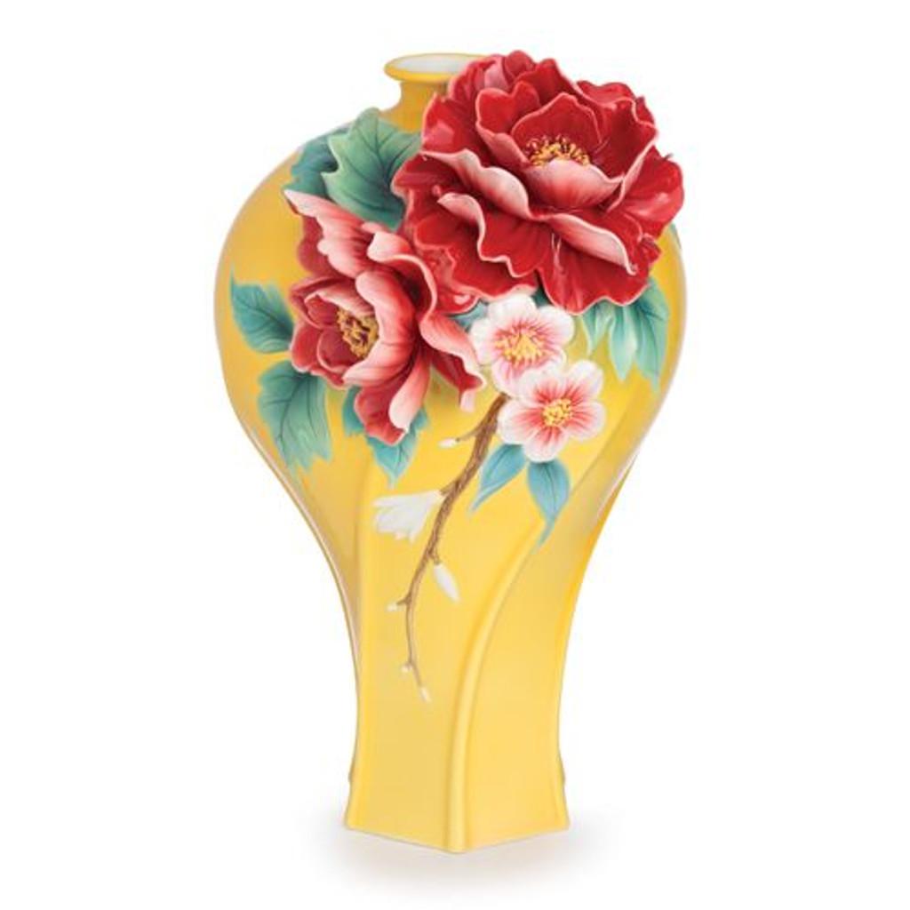 Franz Porcelain Peony Blossom Sculptured Porcelain Large Vase FZ02727