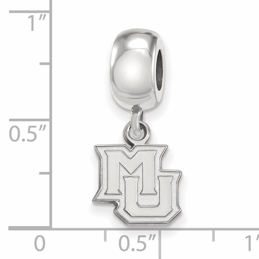 With measurement & size Marquette University Bead Charm Extra Small Dangle Sterling Silver SS019MAR