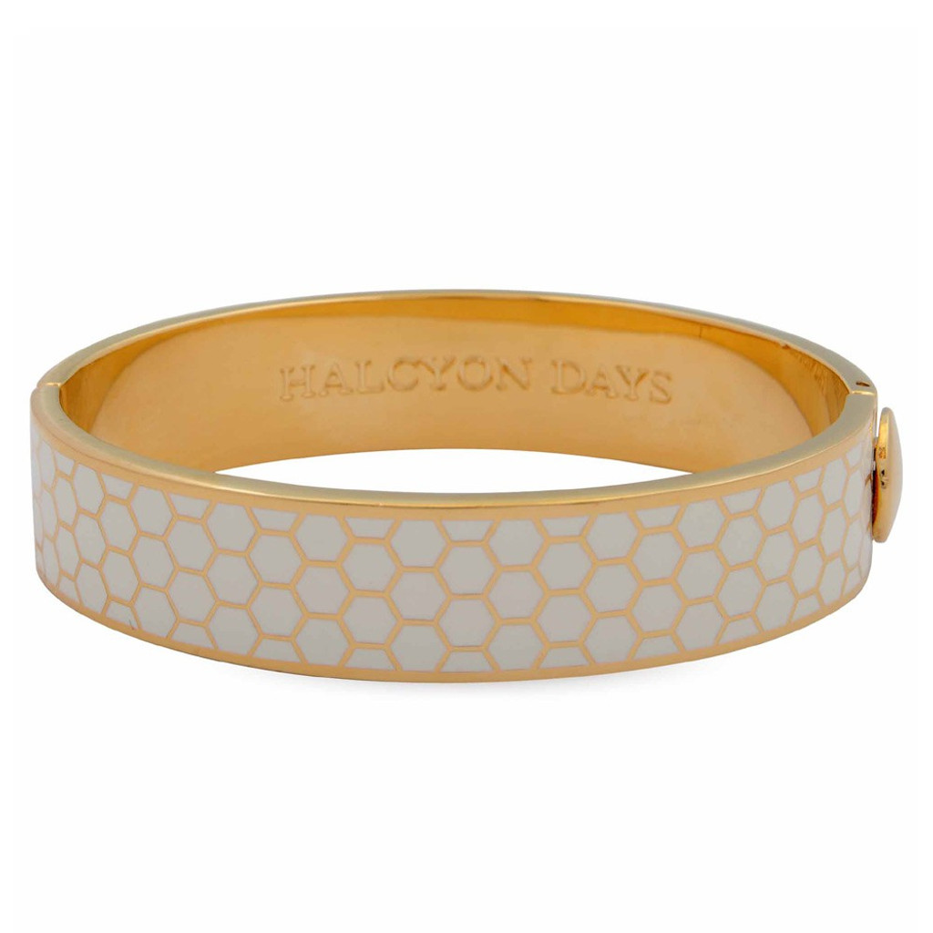 Halcyon Days Honeycomb Cream Gold 13mm Hinged Bangle HBHON0513G EAN: 5060171148395