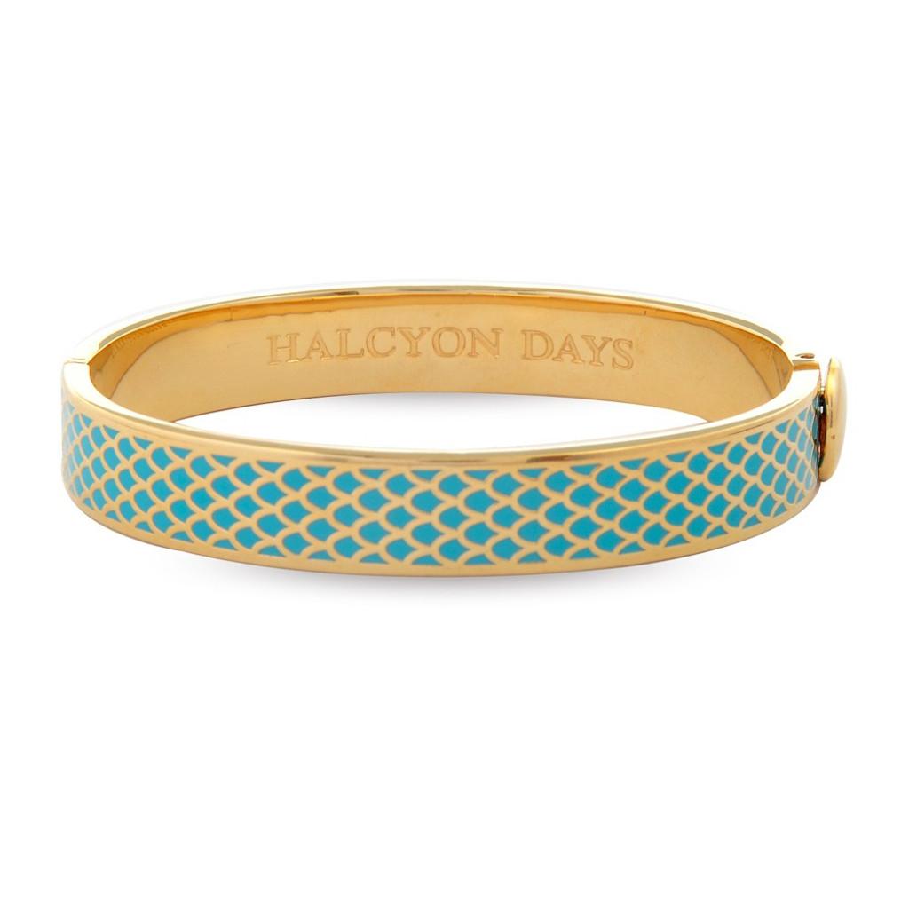 Halcyon Days Salamander Turquoise Gold 1cm Hinged Bangle HBSAL1410G EAN: 5060171136477