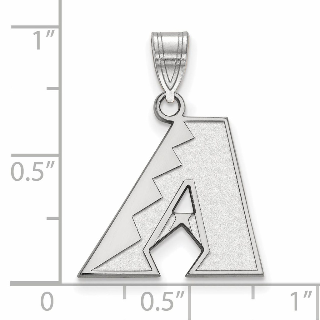 Arizona Diamondbacks Medium Pendant 10k White Gold 1W003DIA Image Next to Ruler