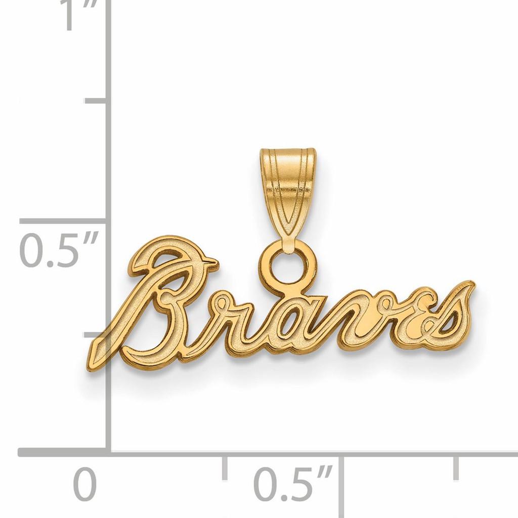 Atlanta Braves Small Pendant 10k Yellow Gold 1Y024BRA Image Next to Ruler
