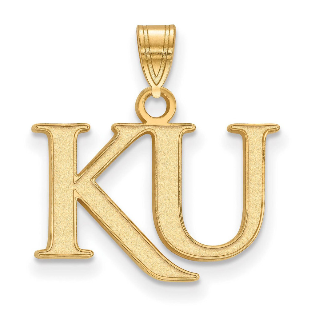 University of Kansas Small Pendant in 14k Yellow Gold by LogoArt MPN: 4Y051UKS