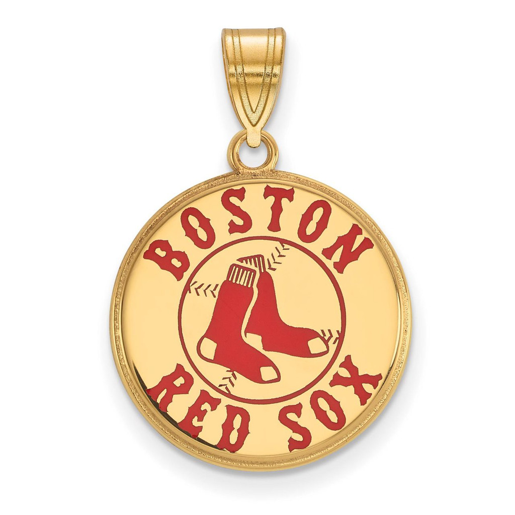 Boston Red Sox Large Enamel Pendant in Gold-plated Silver by LogoArt MPN: GP032RSO