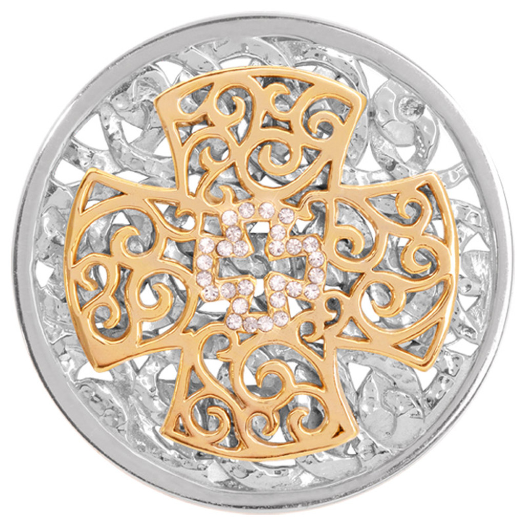 Nikki Lissoni Waved Cross Silver/Gold-Plated 43mm Coin MPN: C1265SL EAN: 8718627466629