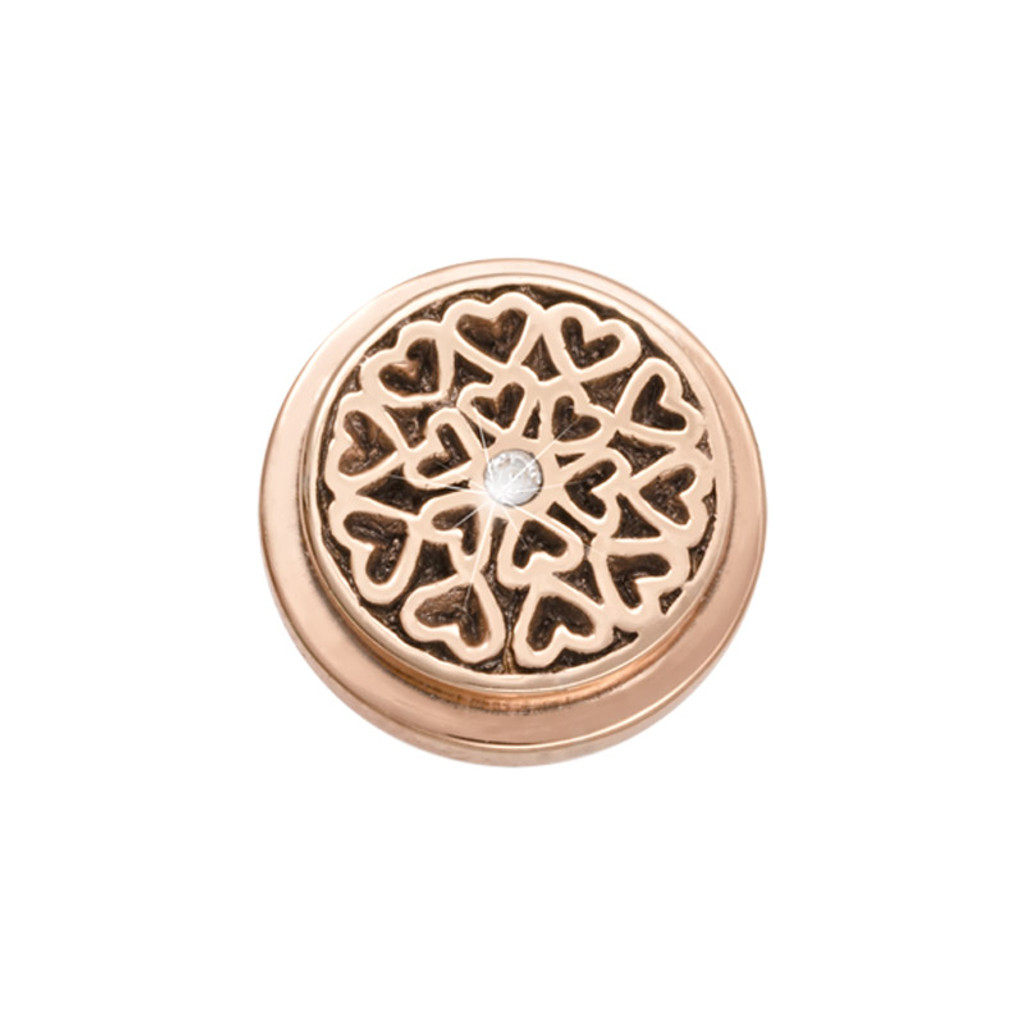 Nikki Lissoni Rose Gold-Plated Hearts All Over Coin That Fits S Rings MPN: RC2015RG EAN: 8718819234234