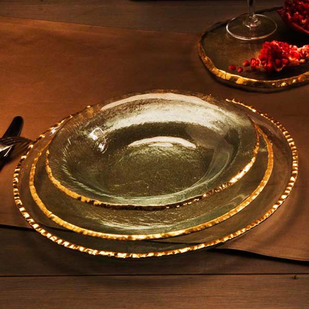 Annieglass Edgey Soup Bowl 9 Inch - Gold MPN: E105G