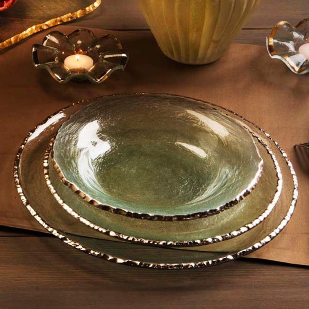 Annieglass Edgey Soup Bowl 9 Inch - Platinum MPN: E105P