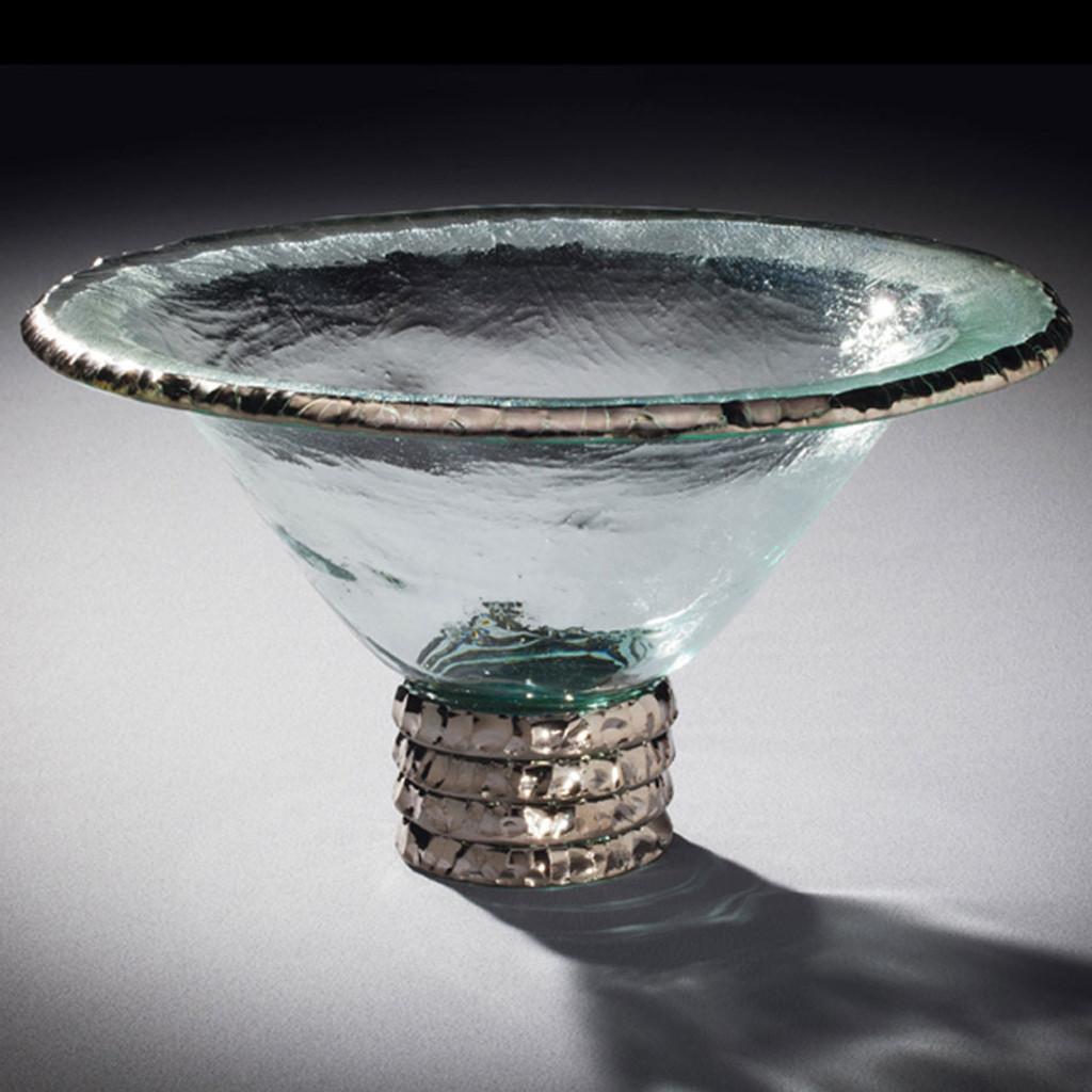 Annieglass Edgey Trophy Bowl 11 1/2 Inch - Platinum MPN: E182P