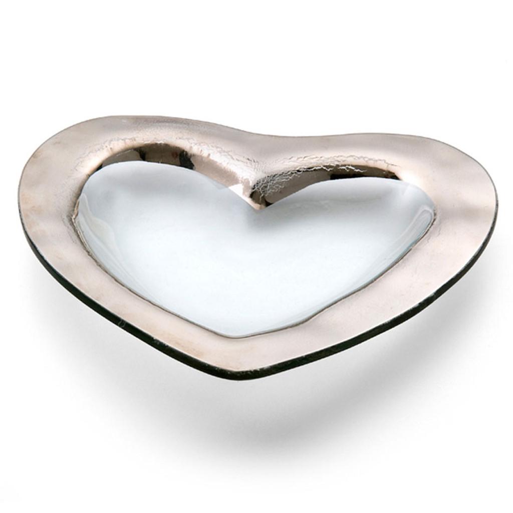 Annieglass Hearts Bowl 8 Inch - Platinum MPN: CSH101P