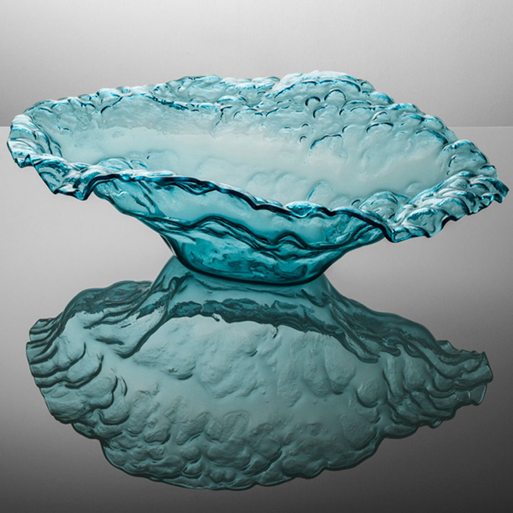 Annieglass Limited Edition Sculpture Water Sculpture Bowl 28 x 20 x 8 1/2 Inch Ultramarine MPN: U520