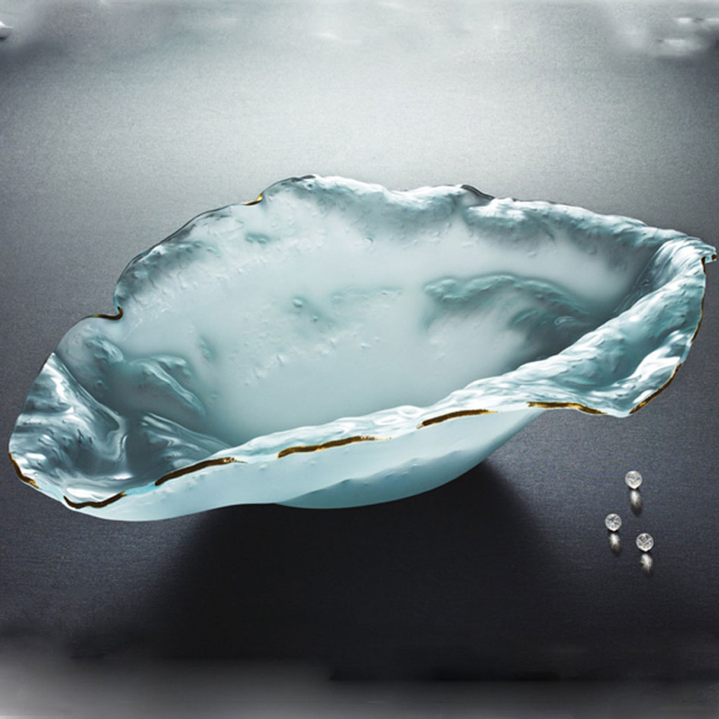Annieglass Limited Edition Sculpture Water Sculpture Bowl Frosted Gold Trim 28 x 20 x 8 1/2 Inch MPN: F520G