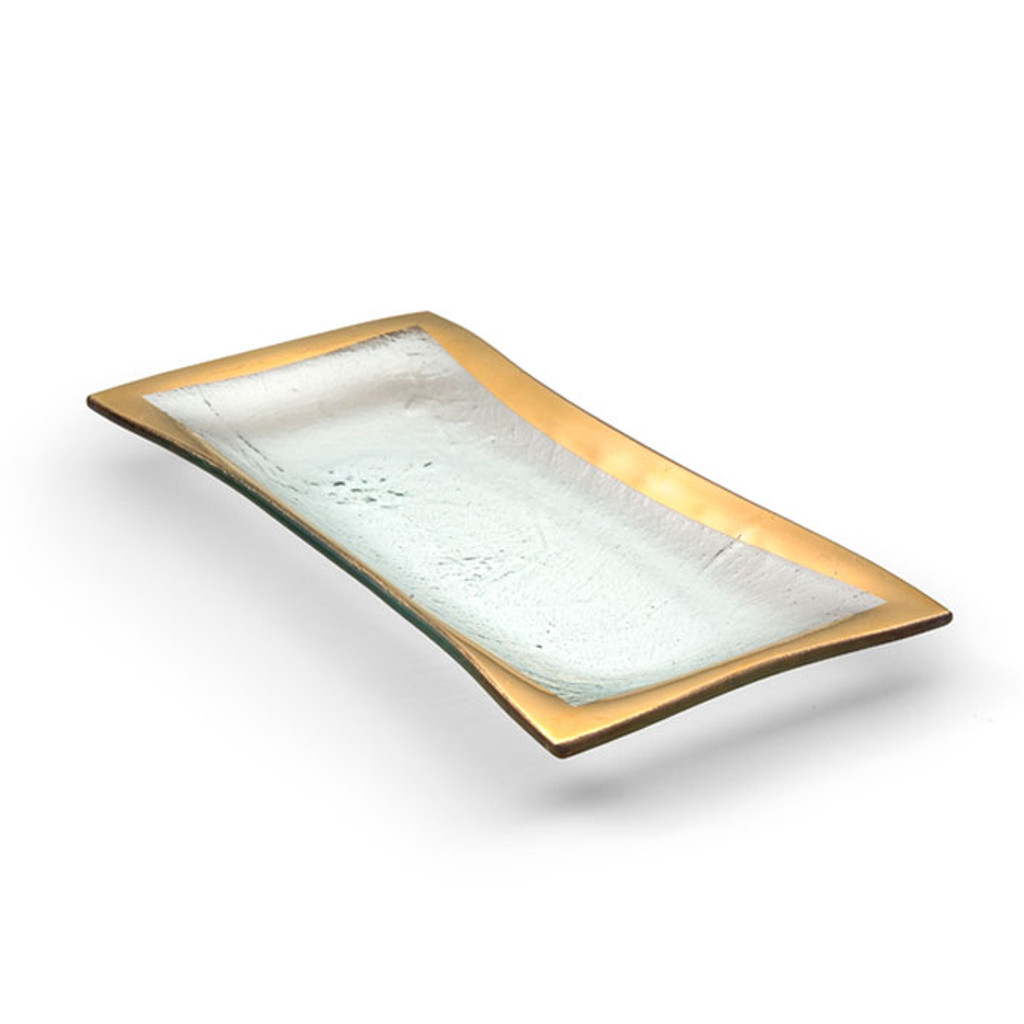 Annieglass Gold Roman Antique Olive Tray 11 x 5 Inch MPN: G143