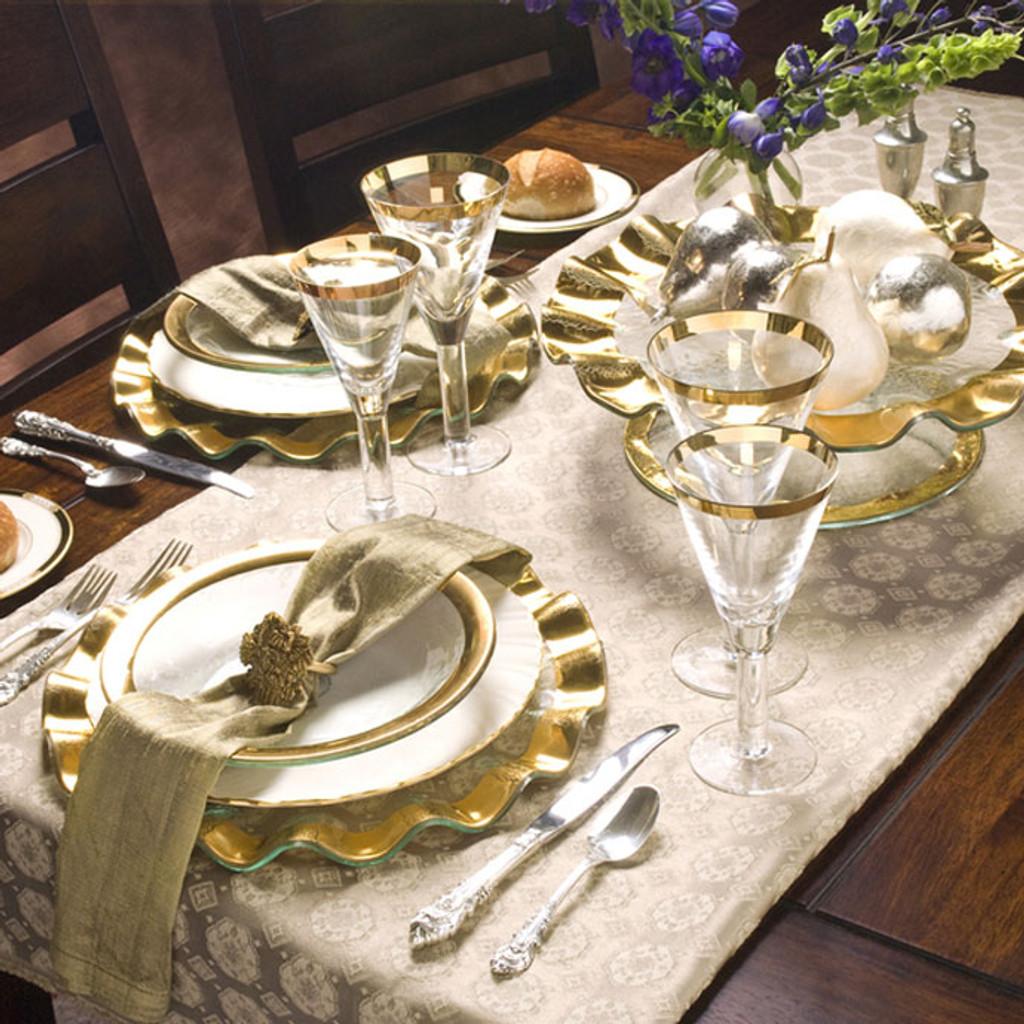Annieglass Ruffle Gold Buffet Plate 13 Inch MPN: G144