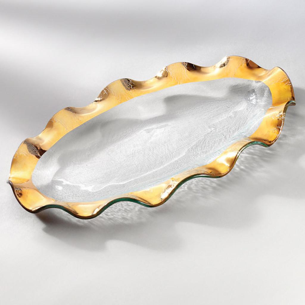 Annieglass Ruffle Gold Oval Platter 14 1/2 x 9 1/2 Inch MPN: G181