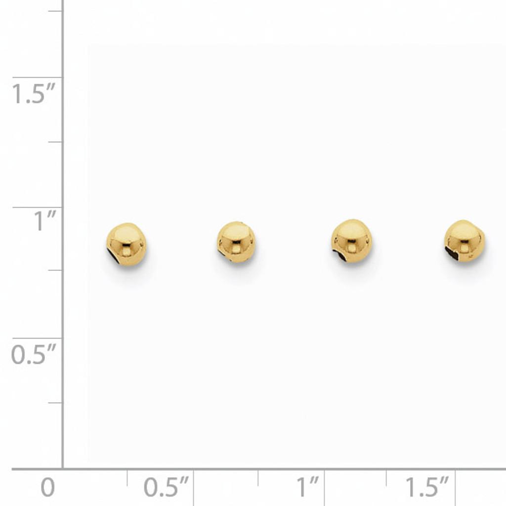 Set of 4, 4mm Spacer Beads 10k Gold 10XCK155
