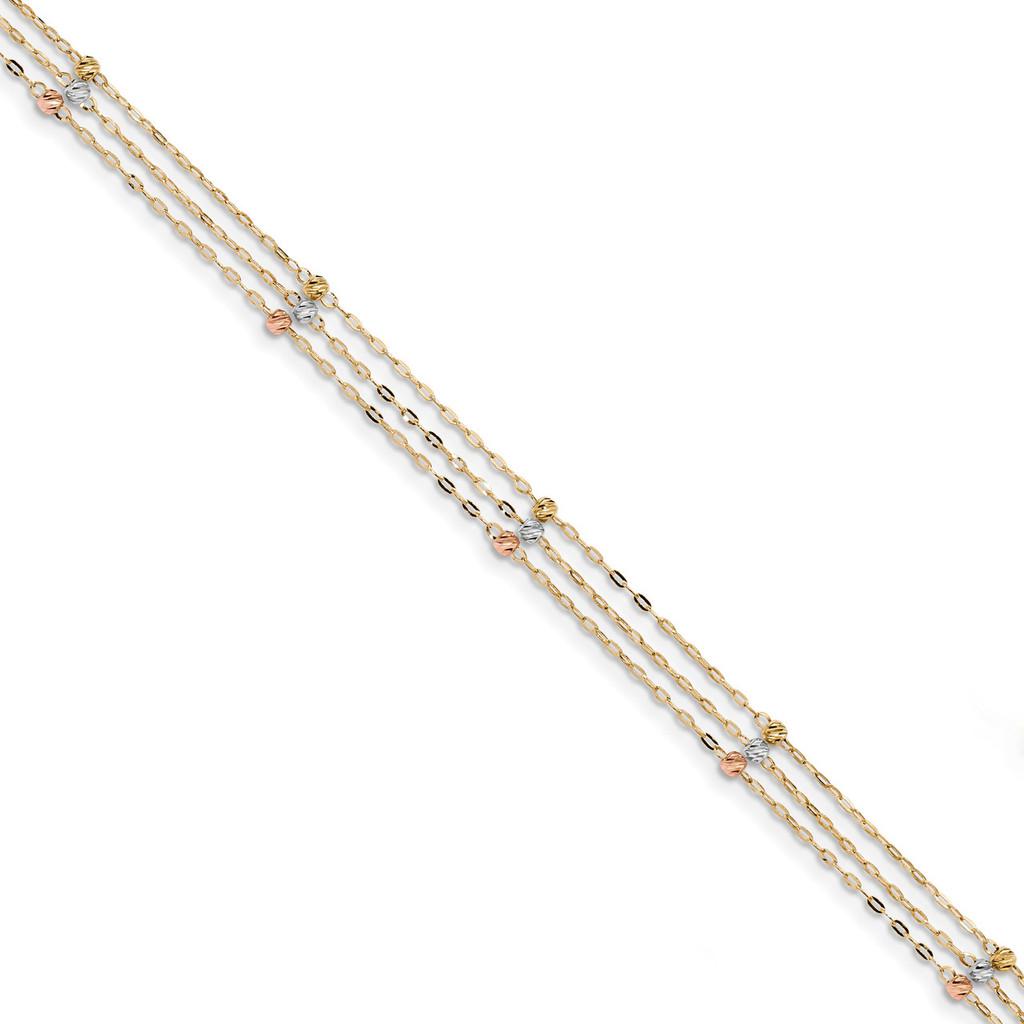 3-Strand Diamond -cut Beaded Anklet 14k Tri-Color Gold MPN: ANK290-10