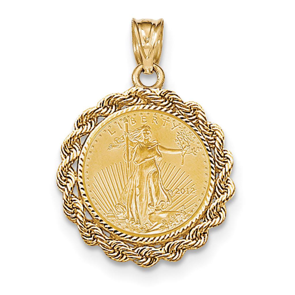 1/10oz Mounted American Eagle Diamond -cut Rope Bezel 14k Gold MPN: BA66/10AEC UPC: 883957043845