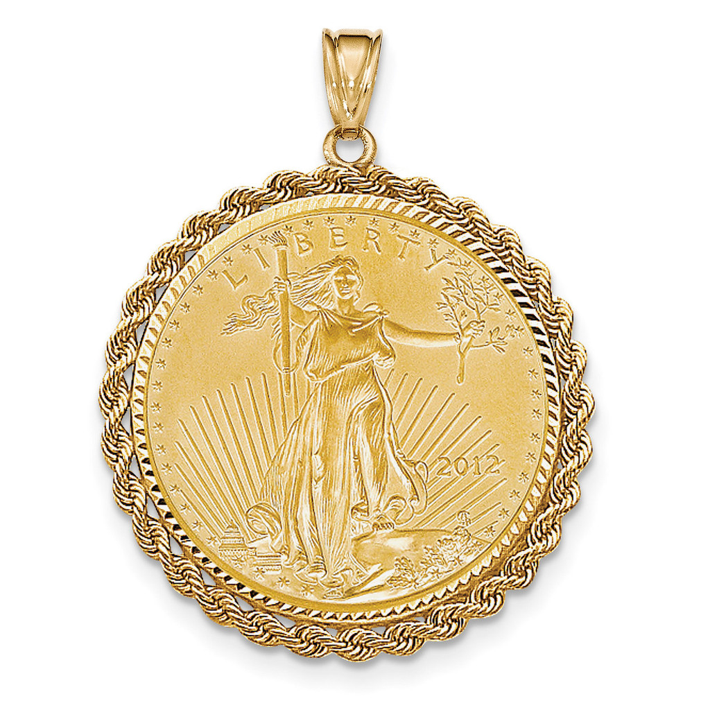 1oz Mounted American Eagle Diamond -cut Rope Bezel 14k Gold MPN: BA66/1AEC UPC: 883957043852
