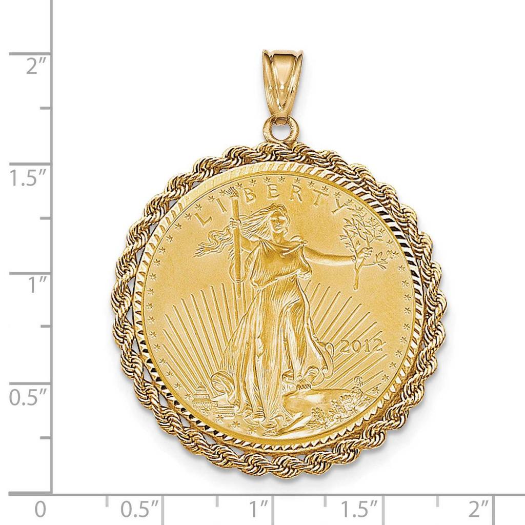 1oz Mounted American Eagle Diamond -cut Rope Bezel 14k Gold BA66/1AEC