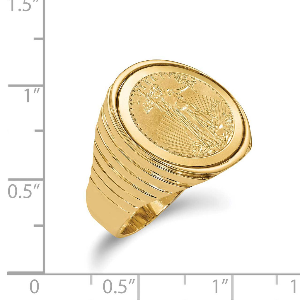 1/10AE Polished Coin Ring with coin 14k Gold CR12/10AEC