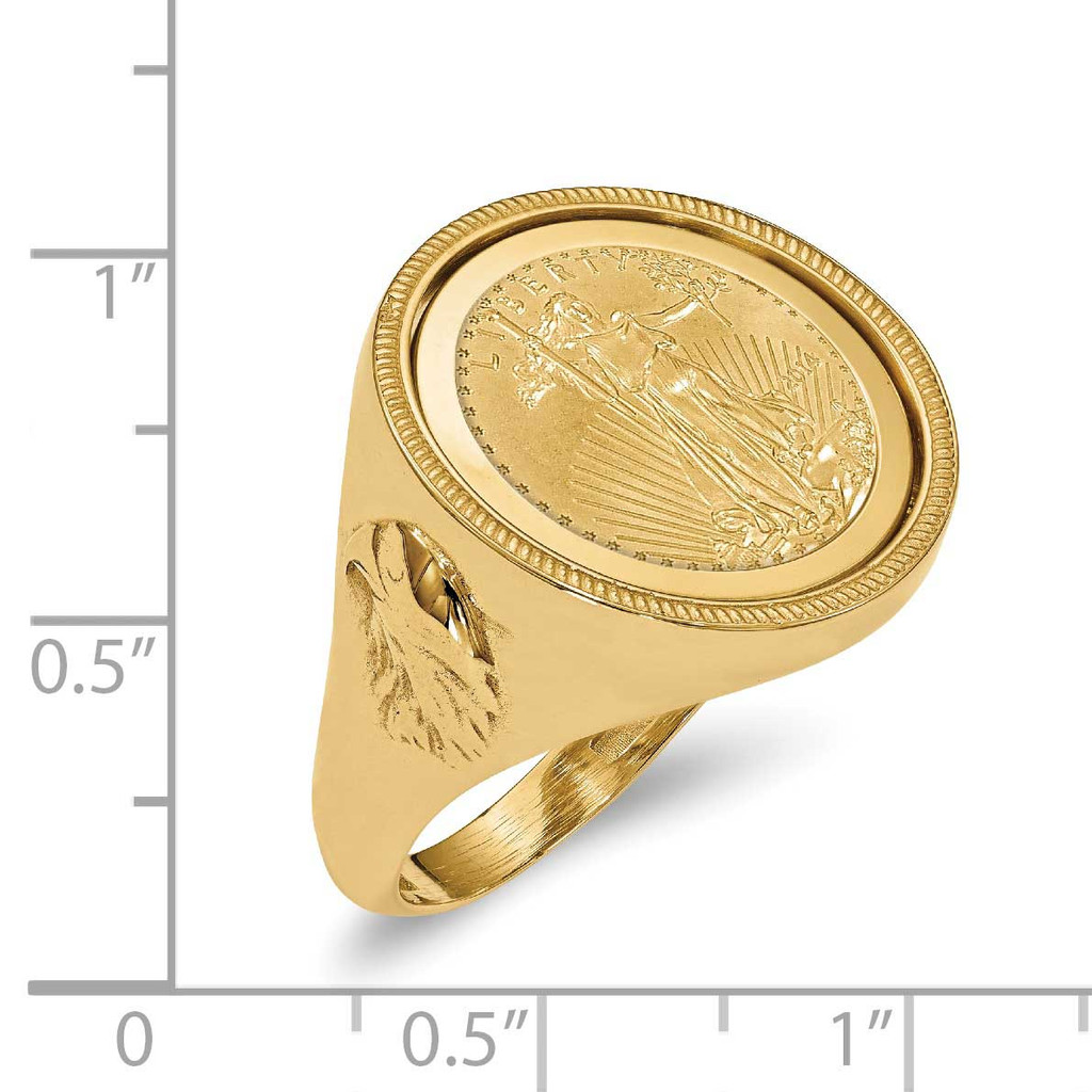 1/10AE Polished Coin Ring with coin 14k Gold CR6/10AEC