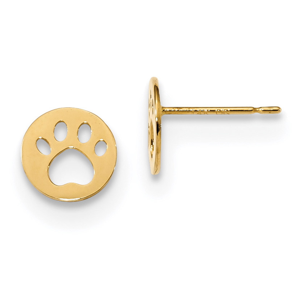Madi K Kids Pawprint Post Earrings 14k Gold MPN: GK956