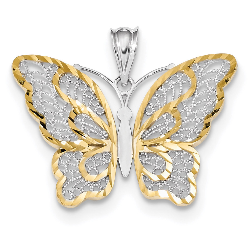 White Polished Filigree Butterfly Pendant 14k Gold & Rhodium MPN: K5987