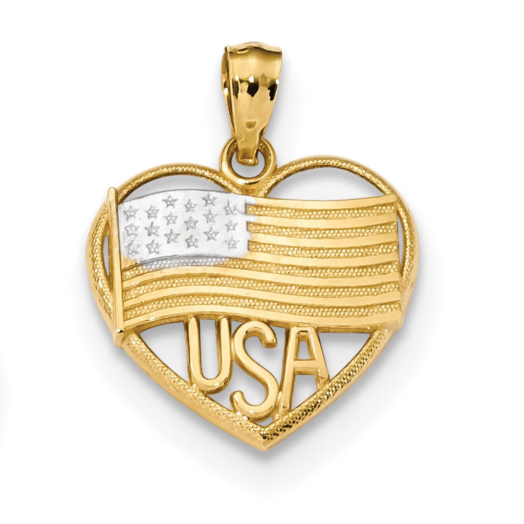 Polished American Flag & USA in Heart Pendant 14k Gold & Rhodium MPN: K6111