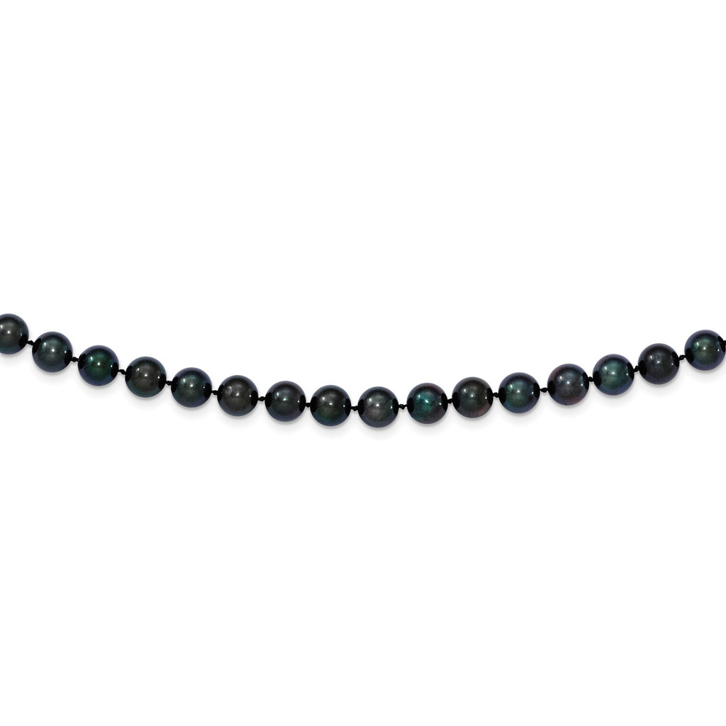 24 Inch 7-8mm Round Black Saltwater Akoya Cultured Pearl Necklace 14k white Gold MPN: PLB70-24