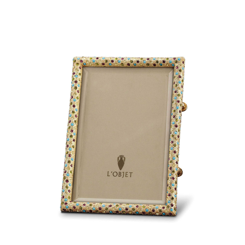 L'Objet Rectangular Pave Picture Frames Gold Multi-Color Crystals 4 X 6 Inch Picture Frame MPN: F6000S
