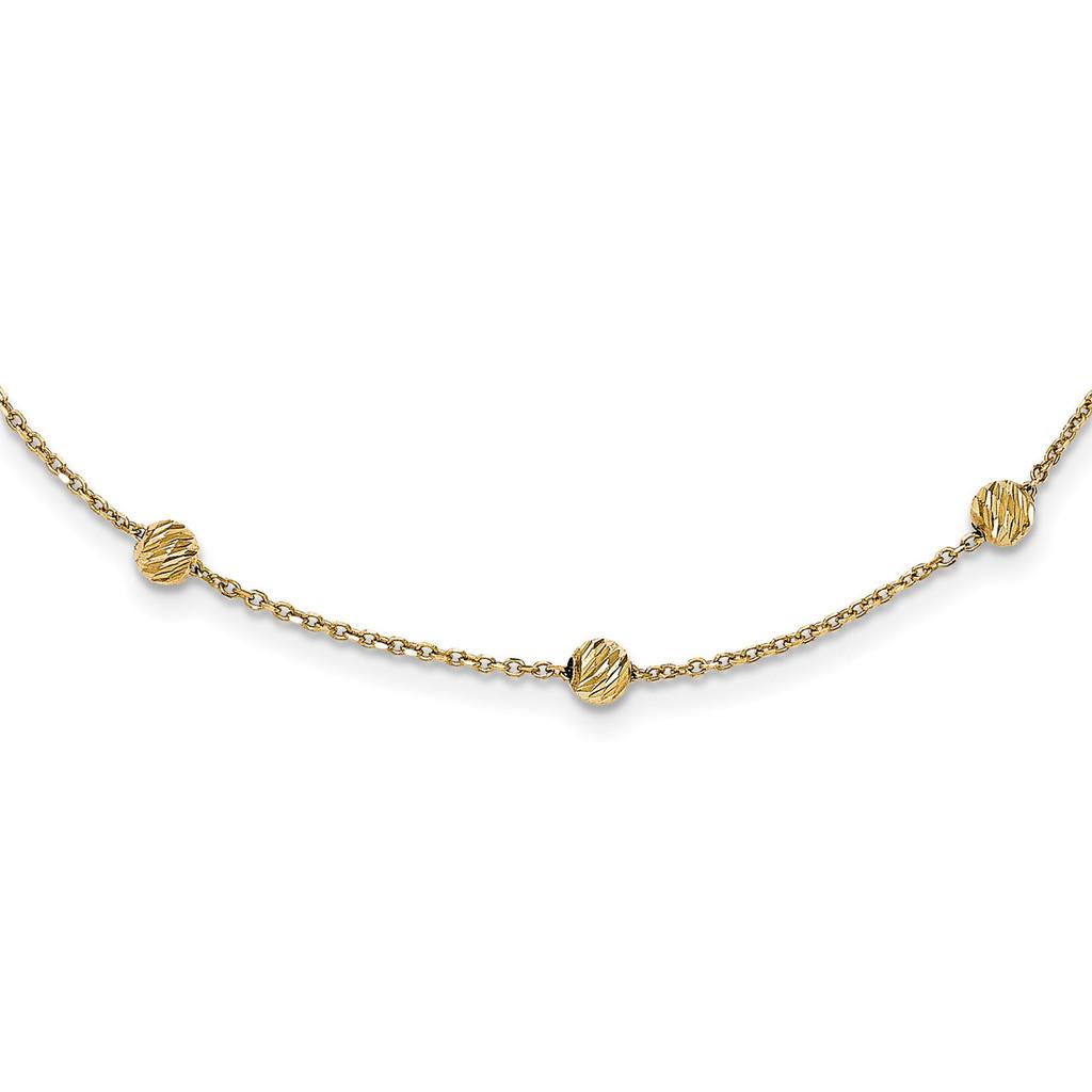 17 Inch Diamond -cut Beads Station Necklace 14k Gold MPN: SF2243-17 UPC: 191101086199