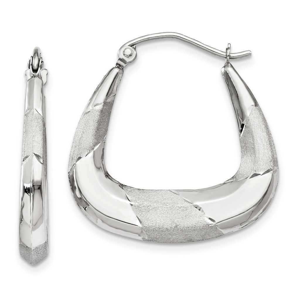 Polished Satin and Diamond -cut Hoop Earrings 14k white Gold MPN: TH780 UPC: 191101369247