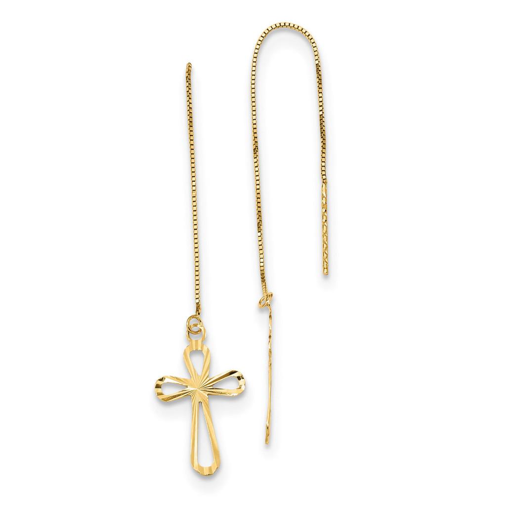 Diamond -cut Box Chain with Cross Threader Earrings 14k Gold Polished MPN: TL1104