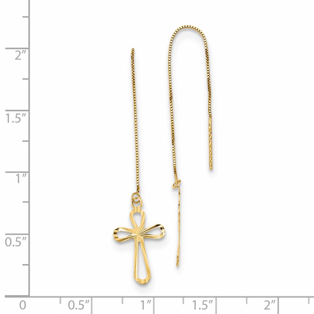 Diamond -cut Box Chain with Cross Threader Earrings 14k Gold Polished TL1104