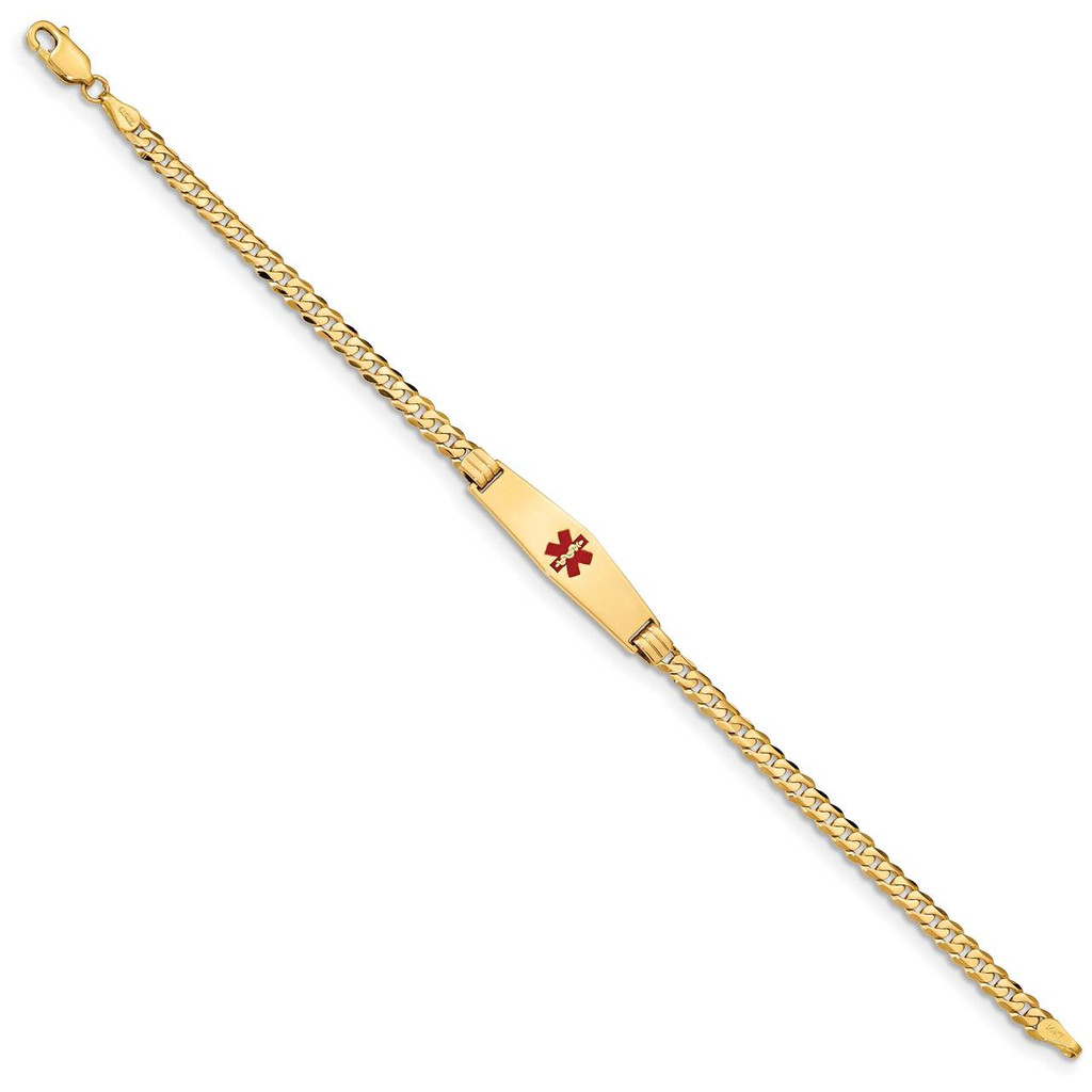 Medical Soft Diamond Shape Red Enamel Curb Link ID Bracecet 14k Gold XM554CC-7