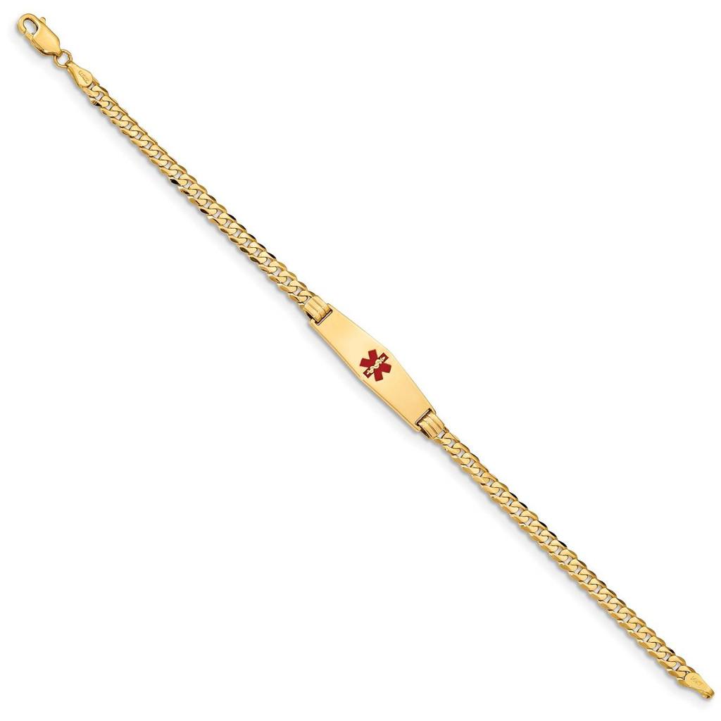 Medical Soft Diamond Shape Red Enamel Curb Link ID Bracecet 14k Gold XM554CC-8