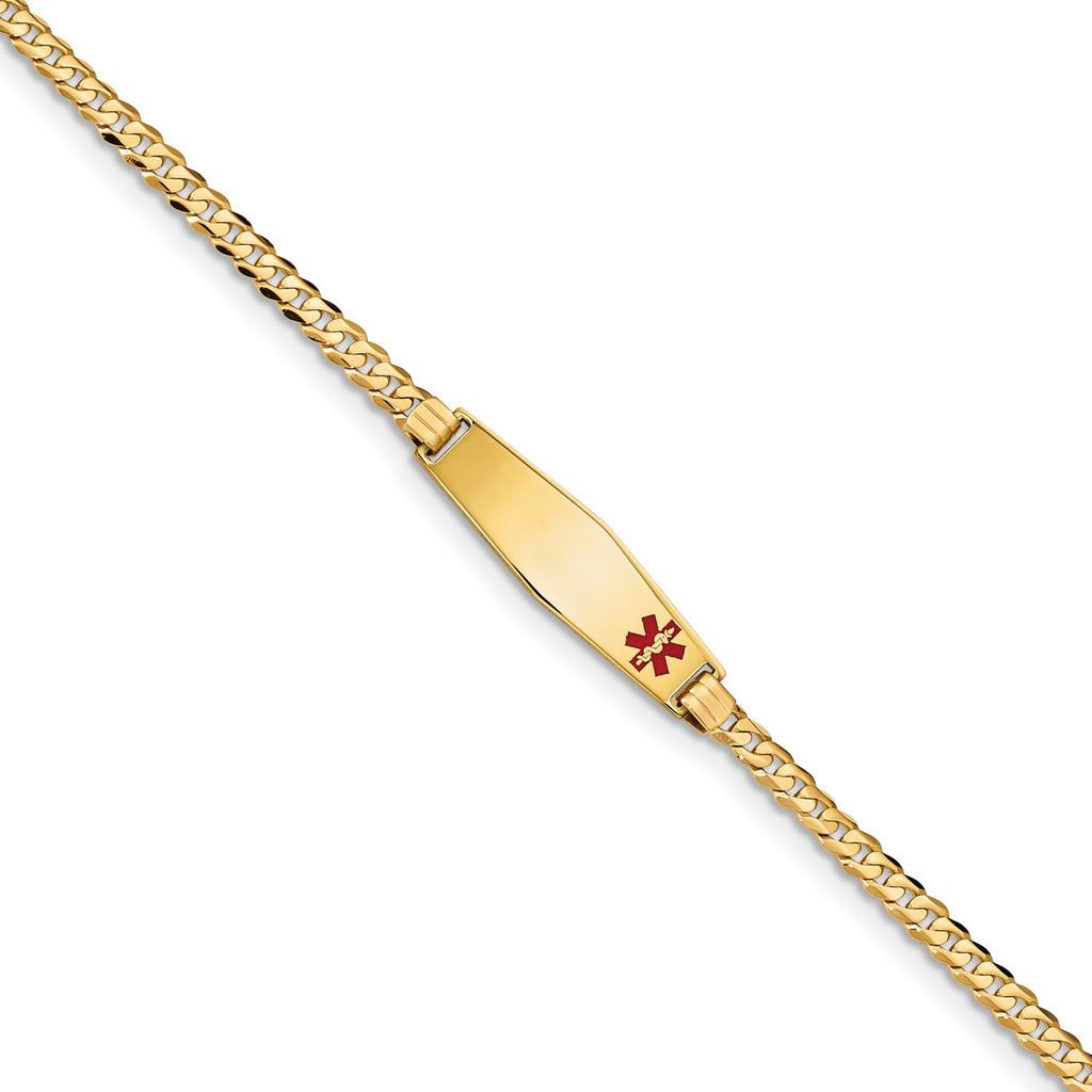 Medical Soft Diamond Shape Red Enamel Curb Link ID Bracecet 14k Gold MPN: XM554FC-8