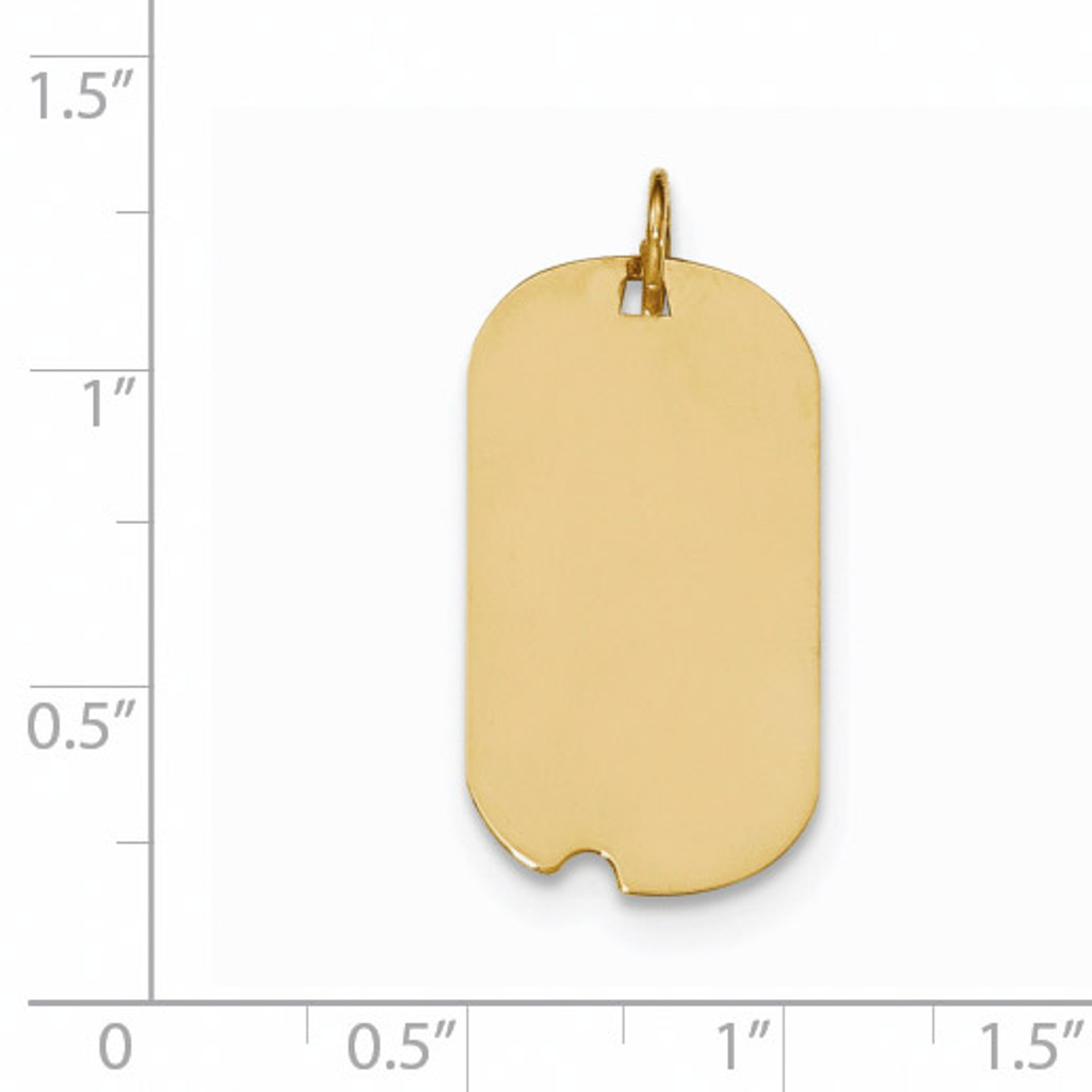 0.009 Gauge Engravable Dog Tag with Notch Disc Charm 14k Gold Plain XM560/09