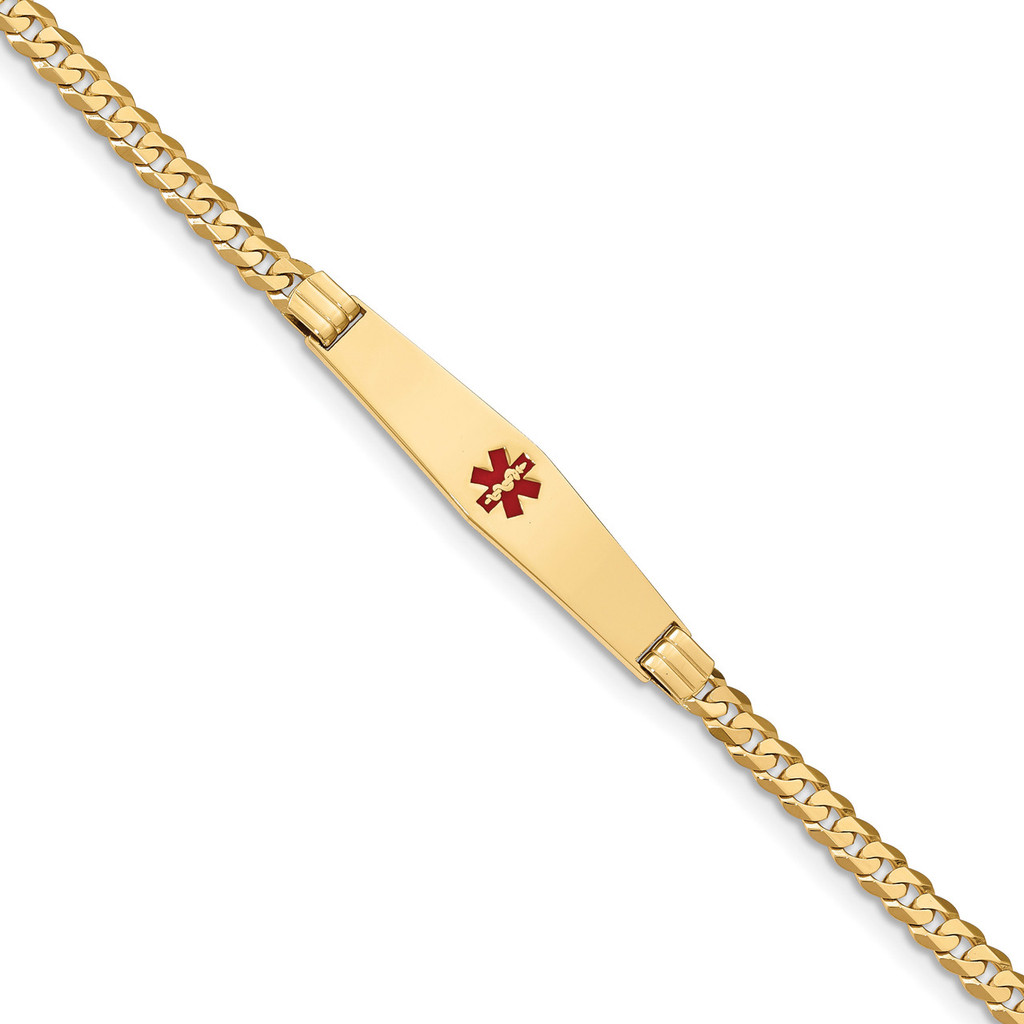 Medical Soft Diamond Shape Red Enamel Curb Link ID Bracecet 14k Gold MPN: XM567CC-7
