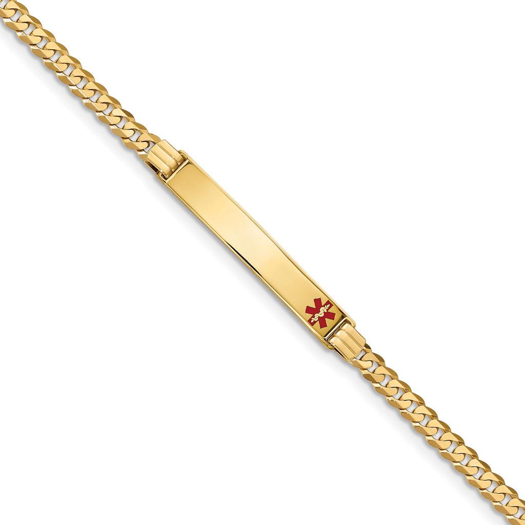 Medical Red Enamel Curb Link ID Bracecet 14k Gold MPN: XM567FR-8