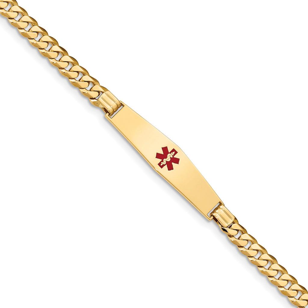 Medical Soft Diamond Shape Red Enamel Curb Link ID Bracecet 14k Gold MPN: XM574CC-7