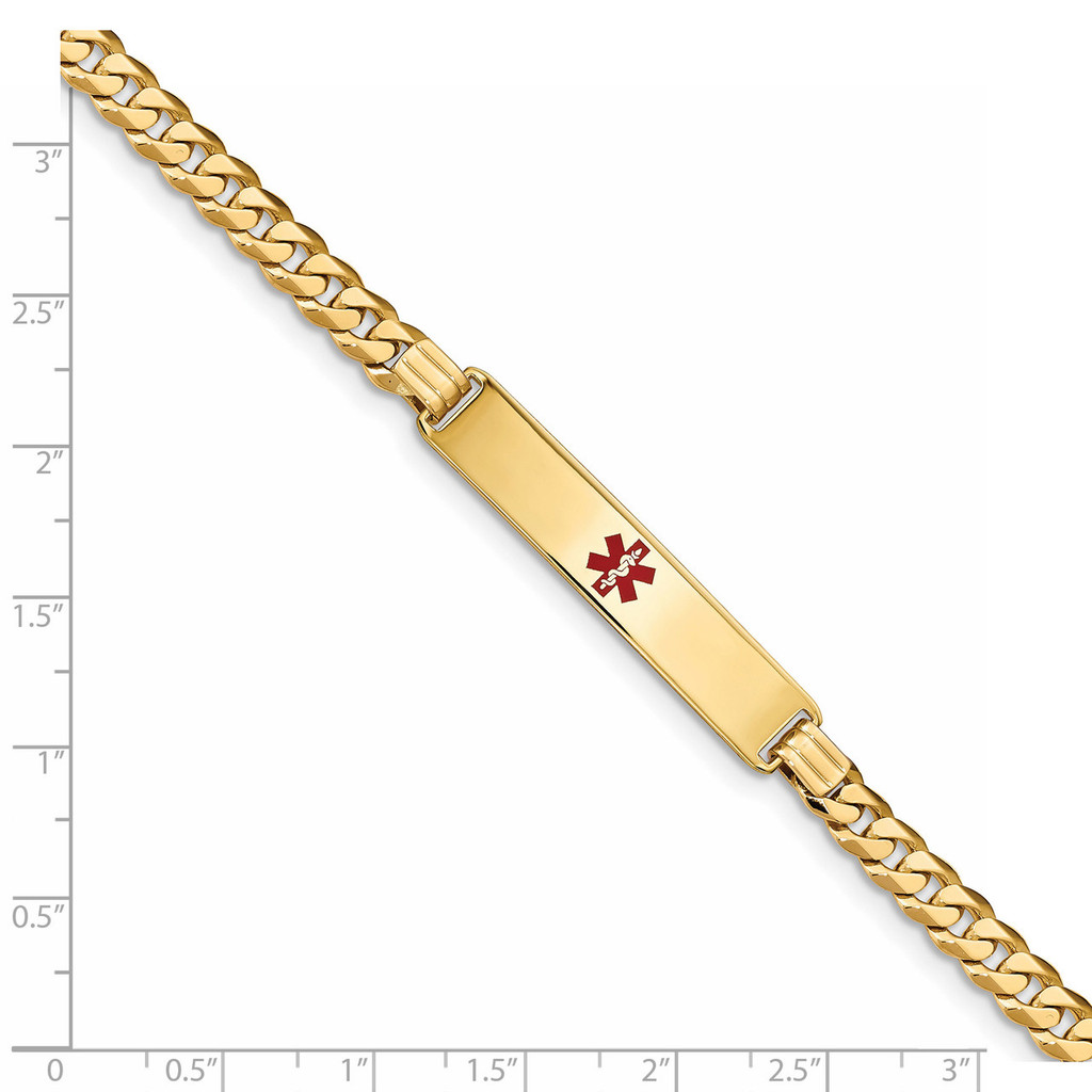 Medical Red Enamel Curb Link ID Bracecet 14k Gold XM574CR-7