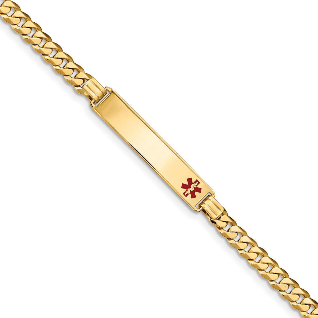 Medical Red Enamel Curb Link ID Bracecet 14k Gold MPN: XM574FR-7