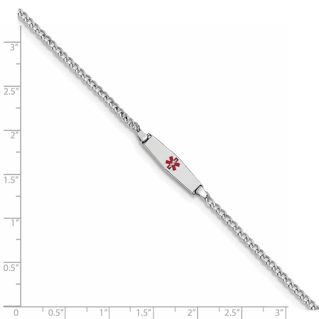 Medical Soft Diamond Shape Red Enamel ID w Semi-Solid Cuban Bracele 14k white Gold XM603CCW-6