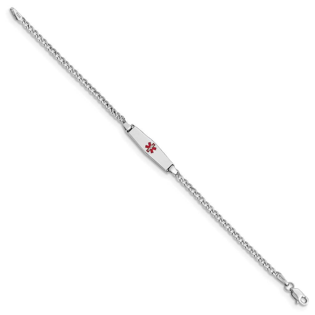 Medical Soft Diamond Shape Red Enamel ID w Semi-Solid Cuban Bracele 14k white Gold XM603CCW-7