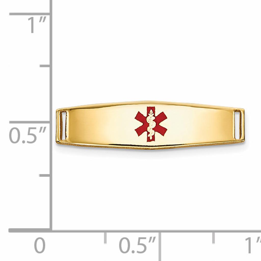 Epoxy Enameled Medical ID Ctr Soft Diamond Shape Plate # 813 14k Gold XM638